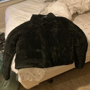 Black faux fur padded jacket